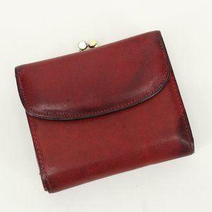 Vintage Red Leather Kiss Lock Wallet